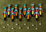 Ten German cloth miniature puppet dolls as toy soldiers by BAPS $200/300