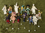 Thirteen German cloth miniature puppet dolls in the theatrical mode by BAPS $200/400