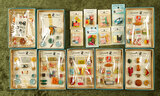Eight vintage packages of miniature food and accessories,Grandmother Stover, FAO Schwarz $200/300