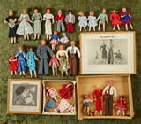 German dollhouse dolls including two sets in original boxes, and 19 others, by Caco $200/300