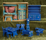 German wooden dollhouse furnishings with painted and decorated finish in Bavarian manner $200/300