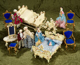 German Miniature Furnishings by Spielware with five dolls in rococo costumes by BAPS $300/500