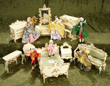 German wooden furnishings by Spielwaren and six dolls by BAPS in original costumes $300/500