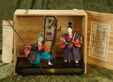 Japanese Miniature Vignette of Aged Man and Youth with Accessories and Original Box $100/300