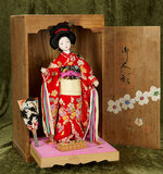 Japanese theatrical doll in elaborate costume with accessories, original stand and box $200/400