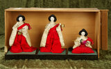 Three Japanese ladies-in-waiting in original costumes, original stands and box $200/400