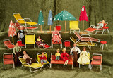 German modern dollhouse furnishings for patios, along with German posable dollhouse dolls $200/400