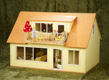 Wooden dollhouse in mid-century style with second-floor sunporch $200/400