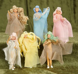 Six German dancing dolls,BAPS,Grecian style costumes likely commission for Huguette Clark $200/400