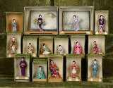 Fifteen Japanese miniature dolls as Kyoto-Bijan depicting stylish ladies, original boxes $300/500