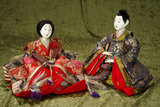 Pair, Japanese nobility in very fine elaborate costumes $200/400