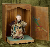 Petite Japanese child doll as young lad in original costume, wonderful handpainted box $400/600