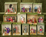 Collection Japanese miniature ensemble or multi-person dolls, original costumes and boxes.  $400/600