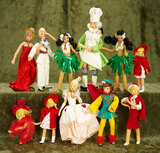 Eleven German cloth miniature dolls by BAPS with early BAPS box $200/300
