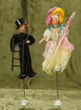 Pair, German Chimney Sweep and Shepherdess Miniature Puppets by BAPS $200/300