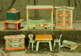 German wooden miniature dollhouse furnishings with original painted green finish.  $300/500