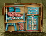 German wooden miniature dollhouse furnishings with original painted blue finish.  $300/400