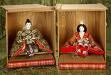 Japanese noble man and woman in ceremonial kneeling pose, original costumes and boxes $600/800