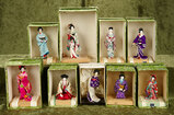 Nine vintage Japanese miniature dolls in original costumes and boxes $200/300