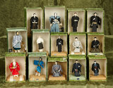 Fourteen Japanese miniature dolls depicting men in various roles or professions $300/400