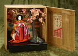 Japanese Miniature Hina in elaborate costume with cherry tree and original labeled box $300/400