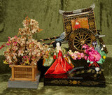 Japanese vintage ebony lacquered sedan chair, along with vignette scene and cherry tree $200/400