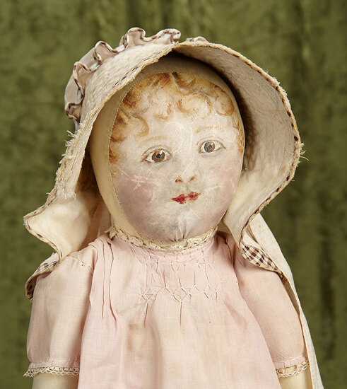 """20"""" American cloth folk doll with painted facial features and antique costume. $400/500"""