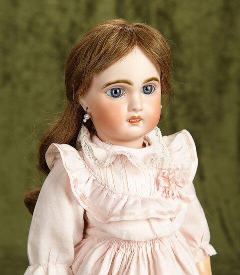 """18"""" French bisque bebe, Tete Jumeau, with French body, antique costume. $800/1100"""