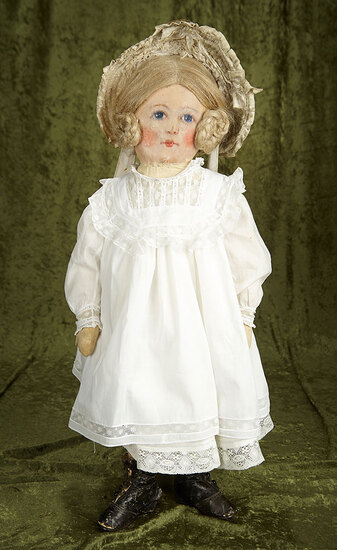 """27"""" American oil-painted cloth doll with rare wig, antique costume. $700/1100"""