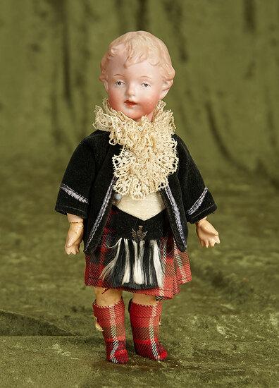 "8"" Rare German bisque character, 9167, by Gebruder Heubach, original Scottish costume. $800/1200"