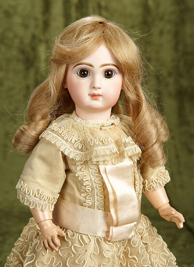 """19"""" French bisque brown-eyed bebe, size 8, by Emile Jumeau, original signed body. $2800/3200"""