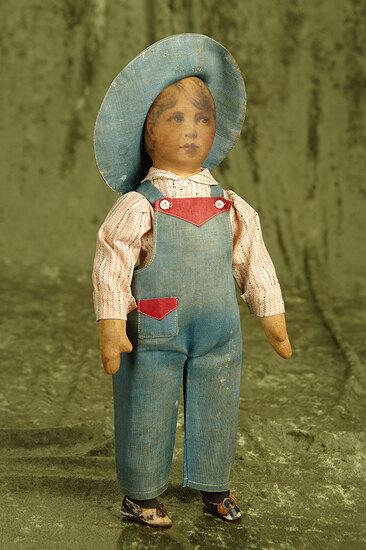 """14"""" American cloth doll as farm boy by Babyland Rag. $300/500"""