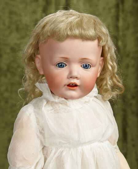"24"" Wonderful German bisque toddler ""Hilda"" with original curly blonde wig, $1800/2200"