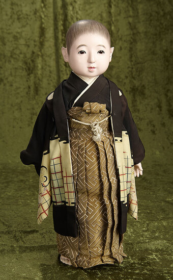 """20"""" Early Japanese Ichimatsu boy with wonderful expression and fine antique costume. $700/1000"""