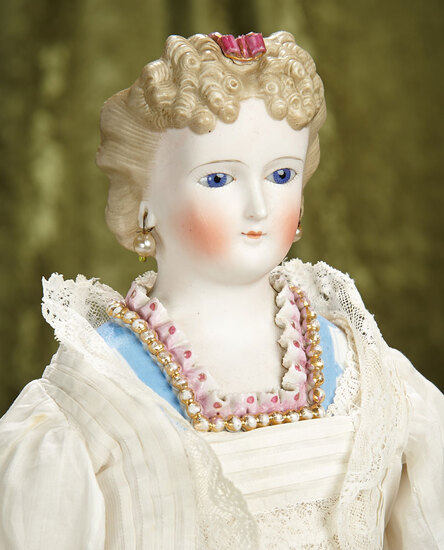 """22"""" German Bisque Glass-Eyed Lady Doll with Rare Sculpted Coiffure and Bodice.$1100/1400"""