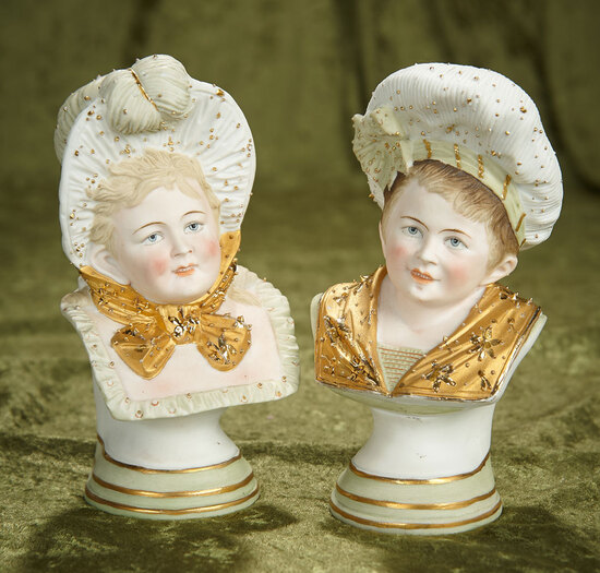 """7"""" Pair, Fine Dresden Busts of Young Couple. $500/750"""