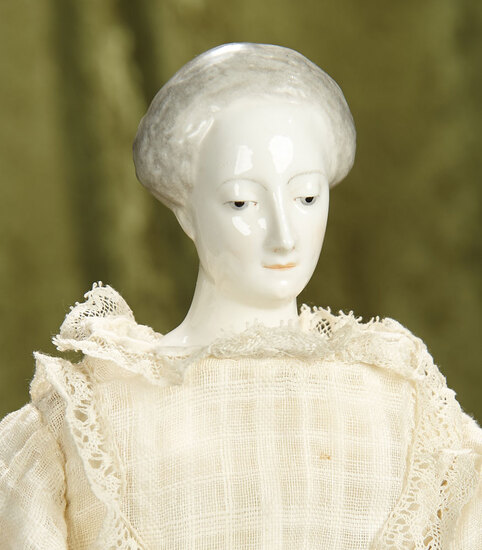 """18"""" German porcelain lady doll from Bavarian Arts and Crafts series. $1100/1300"""
