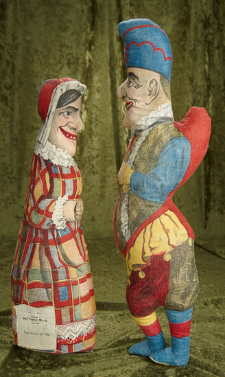 """22"""" American cloth pair of Punch and Judy by Art Fabric Mills, rare size. $400/600"""