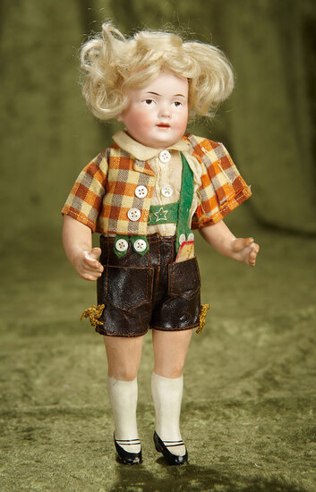 """9"""" German bisque painted eye character, 536, by Kley and Hahn in Tyrolean costume. $400/500"""