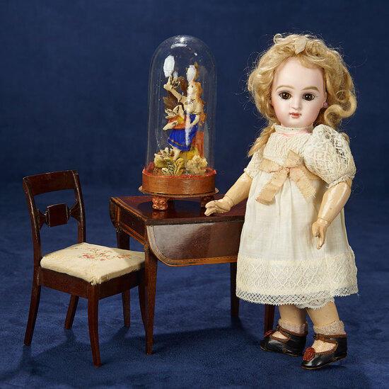 Early English Wooden Doll Furniture and Waxed Valentine In Original Dome 300/500