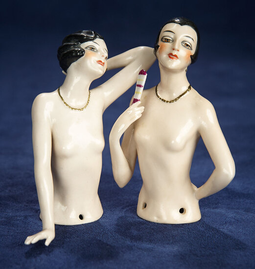 Two German Porcelain Half-Dolls as Saucily-Posed Flappers 400/500
