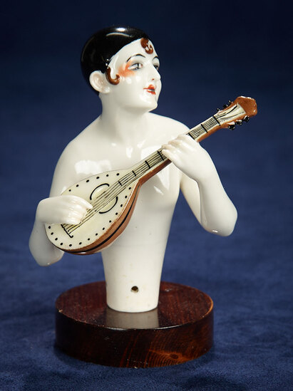 "German Porcelain Half-Doll ""Pierrot with Mandolin"" by Dressel & Kister 300/500"