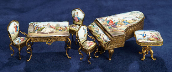Viennese Miniature Bronze and Enamel Furniture 400/600