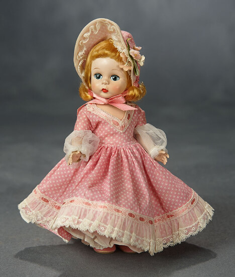 "Tosca-Haired ""Little Madeline"" by Alexander in Pink Polka-Dot Gown and Bonnet 500/700"