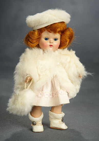 "Auburn-Haired Painted-Lash Ginny ""Marge"" with Extra White Faux Fur Coat, Hat and Muff 400/500"