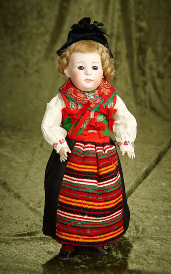 "13"" German Bisque Pouty, 7246, by Gebruder Heubach in Folklore Costume. $800/1200"