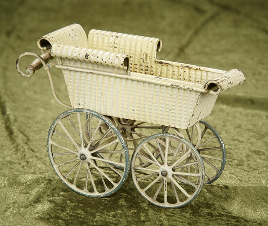 German pressed tin doll carriage attributed to Maerklin. $400/500