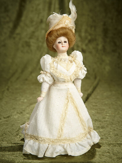 "10"" German bisque Gibson Girl, model 172, by Kestner in rare petite size, original body. $800/1100"