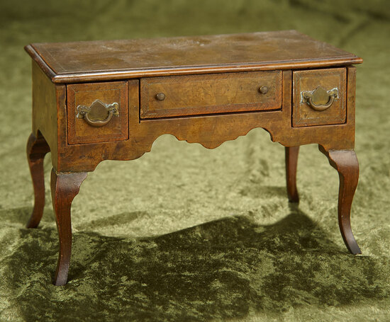"8""l. Fine early maitrise model library desk with burled walnut woods. $600/800"
