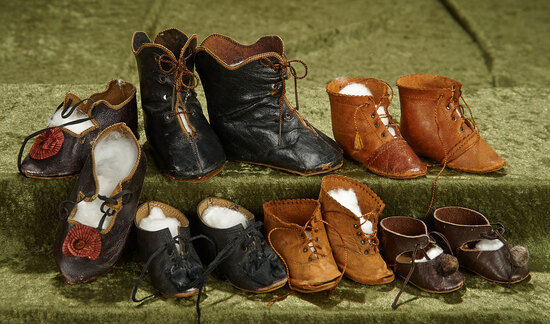 "2 1/2""-4"" Six pairs of antique kidskin doll shoes and boots. $400/600"